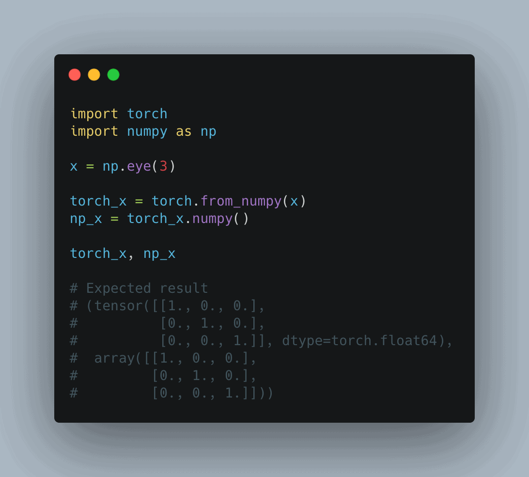 convert numpy array to pytorch tensor and back